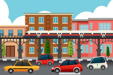 Illustration pour Modern town transportation systems illustration - image libre de droit