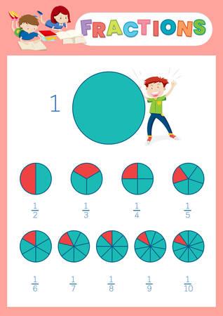 Illustration pour A math fractions worksheet illustration - image libre de droit
