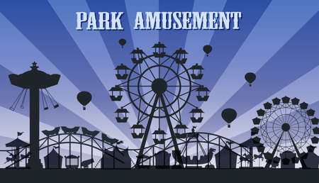 Illustration for A silhouette amusement park template illustration - Royalty Free Image