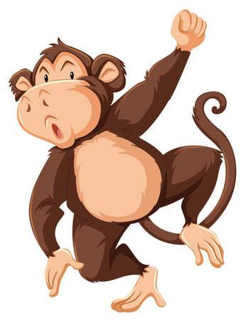 Illustration pour A monkey character on white background illustration - image libre de droit