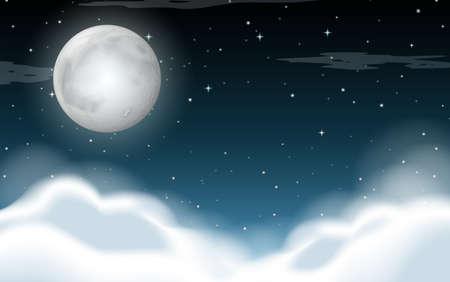 Illustration pour A cloudy sky at night illustration - image libre de droit