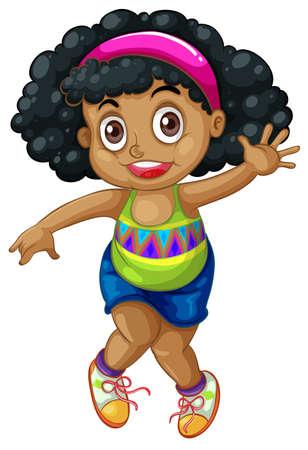 Ilustración de An african girl character illustration - Imagen libre de derechos