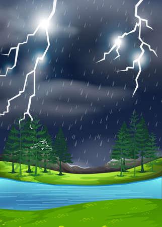 A thunderstorm in nature scene illustration