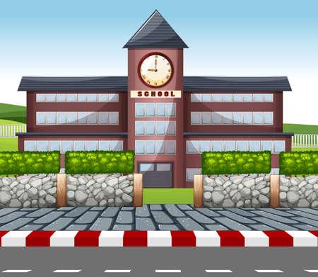 Illustration pour A modern school building illustration - image libre de droit