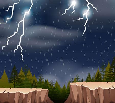 A thunderstorm night scene illustration