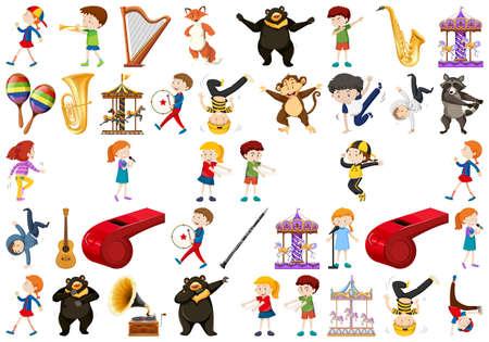 Ilustración de Set of music instrument illustration - Imagen libre de derechos