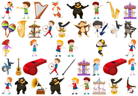 Illustration for Set of music instrument illustration - Royalty Free Image