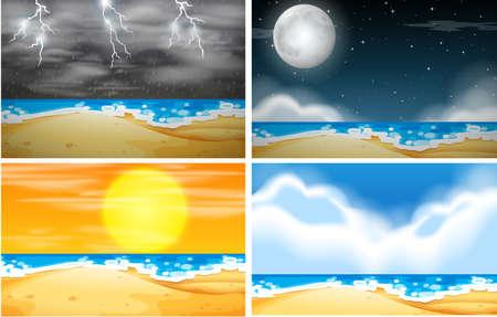Illustration pour Set of beach background with different weather illustration - image libre de droit