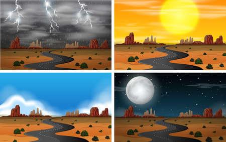Illustration pour Different Sky Scenery Sets illustration - image libre de droit