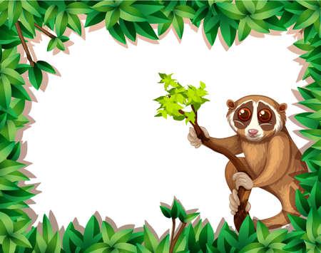 Illustration pour Lemur On Branch Card illustration - image libre de droit