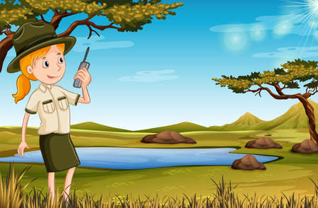 Illustration pour Zookeeper in the nature illustration - image libre de droit
