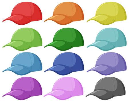 Ilustración de Set of different cap illustration - Imagen libre de derechos