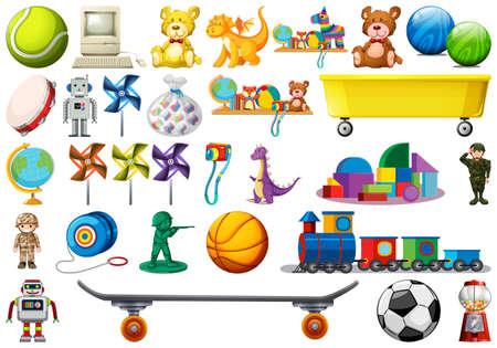 Ilustración de Set of children toys illustration - Imagen libre de derechos