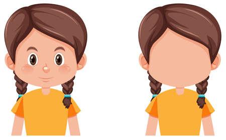 Illustration for Set of braids girl illustration - Royalty Free Image