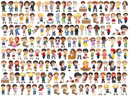 Illustration pour Children with different nationalities on white - image libre de droit