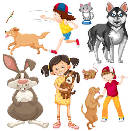 Illustration for Children with animals on isolated background illustration - Royalty Free Image