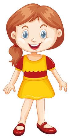 Ilustración de Girl with happy smile on white background illustration - Imagen libre de derechos