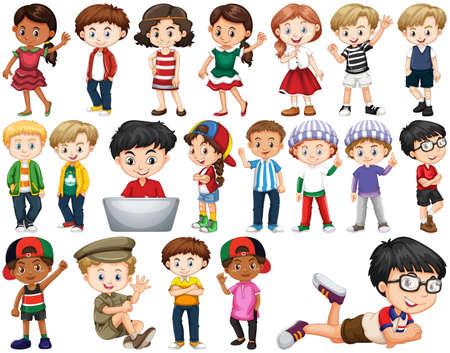 Illustration pour Set of happy children doing different actions illustration - image libre de droit