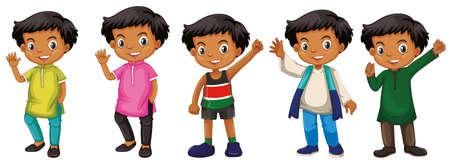 Ilustración de Boy with happy face in different costumes illustration - Imagen libre de derechos