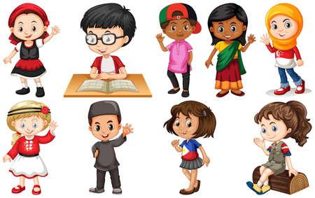 Ilustración de Set of children from different countries illustration - Imagen libre de derechos