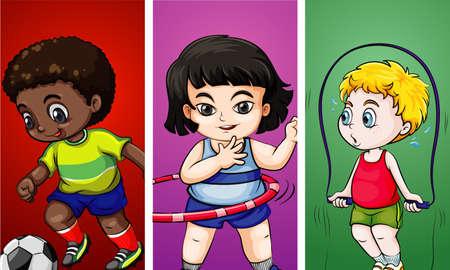 Ilustración de Three children doing different sports illustration - Imagen libre de derechos
