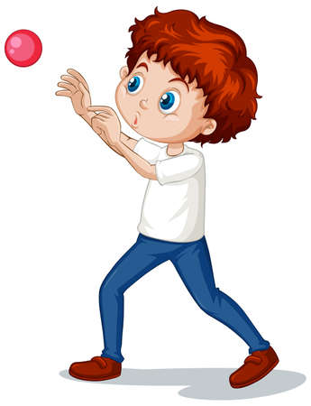 Ilustración de Boy playing ball on white background illustration - Imagen libre de derechos