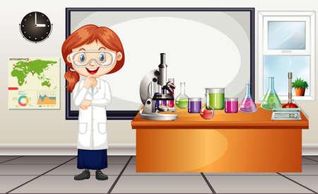 Illustration pour Scene with female scientist working in the lab illustration - image libre de droit