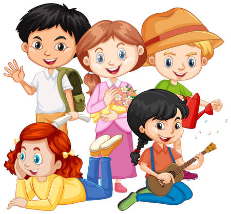 Illustration for Five children with different hobbies illustration - Royalty Free Image