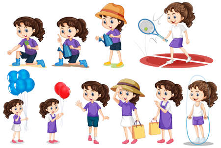 Illustration for Set of girl doing different activities on isolated background illustration - Royalty Free Image