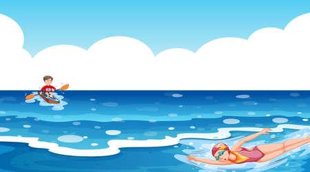 Foto für Scene with people doing water sport in the ocean illustration - Lizenzfreies Bild