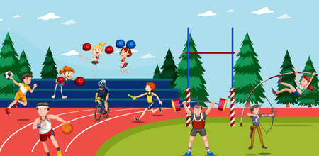Illustration pour Background scene with athletes doing track and field events illustration - image libre de droit