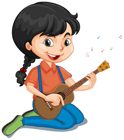 Illustration for Girl playing guitar on isolated background illustration - Royalty Free Image