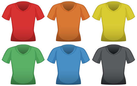 Illustration for T-shirts in six different colors illustration - Royalty Free Image