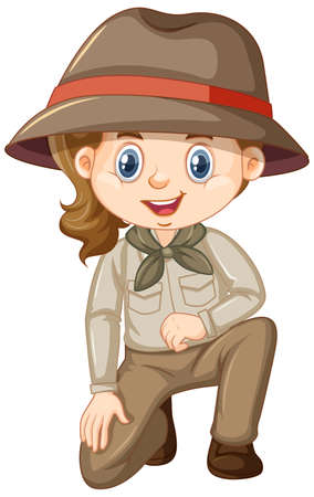 Ilustración de Girl in safari costume on white background illustration - Imagen libre de derechos