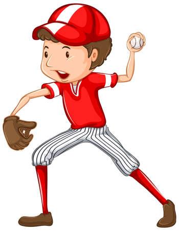 Photo for Athlete doing baseball on white background illustration - Royalty Free Image