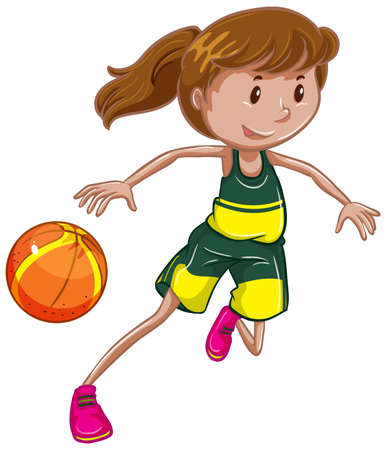 Photo for Athlete doing basketball on white background illustration - Royalty Free Image
