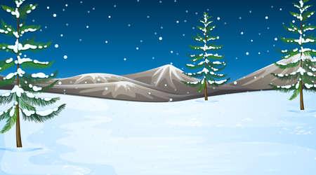 Illustration pour Background scene with snow in the field illustration - image libre de droit