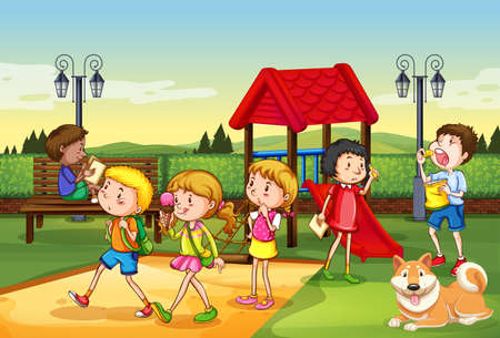 Illustration for Scene with many children playing in the playground illustration - Royalty Free Image