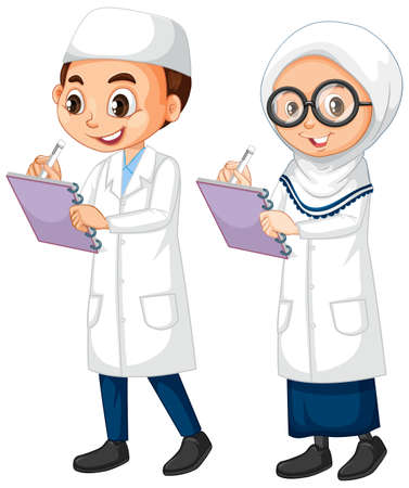 Illustration pour Boy and girl in science gown standing on white background illustration - image libre de droit