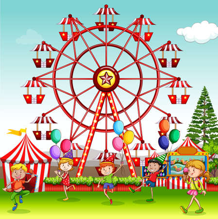 Illustration pour Scene with happy children playing in the circus park illustration - image libre de droit