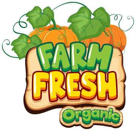 Illustration for Font design for word fresh farm with pumpkins illustration - Royalty Free Image