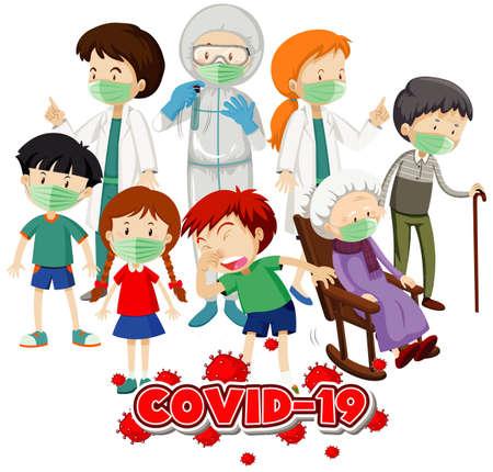 Vektor für Poster design for coronavirus theme with many sick people in hospital illustration - Lizenzfreies Bild