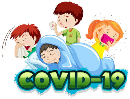 Illustration for Covid 19 sign template with many sick children illustration - Royalty Free Image