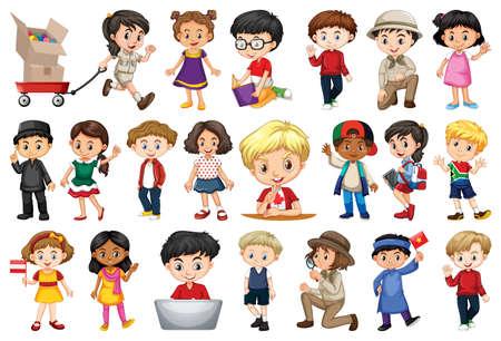 Illustration pour Large set of children doing different activities  illustration - image libre de droit