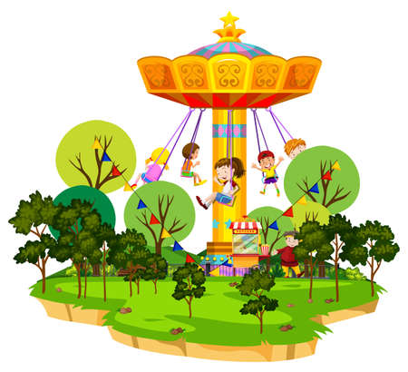 Illustration for Scene with many kids riding on giant swing in the park illustration - Royalty Free Image