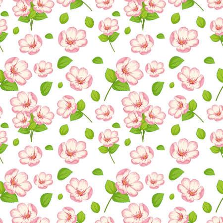 Illustration pour Set of cute pink flowers and leaf illustration - image libre de droit