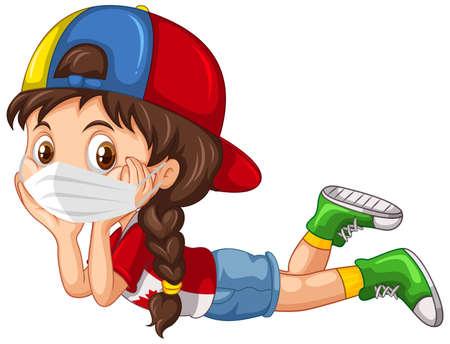 Ilustración de Girl cartoon character wearing mask illustration - Imagen libre de derechos