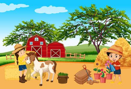 Illustration pour Farm scene with children and horse on the farm illustration - image libre de droit