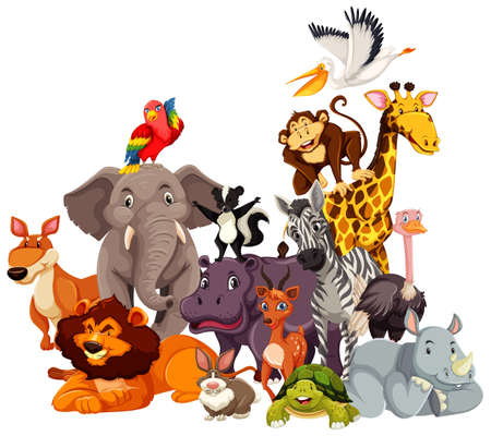 Illustration pour Group of wild animals cartoon character illustration - image libre de droit