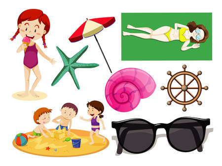 Photo pour Set of summer beach icon and kids cartoon style on white background illustration - image libre de droit